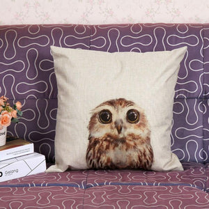 Vintage Owl Cotton Pillow Cover