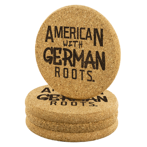 "Image of ""American With German Roots"" Round Cork Coasters"