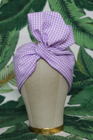 Lavender Gingham - Wired Turban Headband