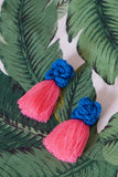 AYANNA CROCHET FRINGE EARRINGS - BLUE & PINK