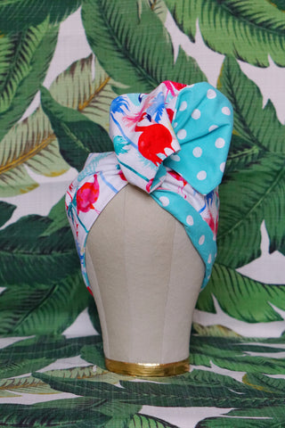 Tropical Flamingo & Aqua Dots - Wired Turban Headband