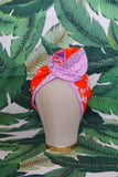 Mixed Floral, Fruit & Lavender Leaves - Wired Turban Headband