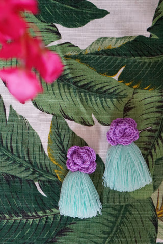 AYANNA CROCHET FRINGE EARRINGS - LAVENDER & MINT