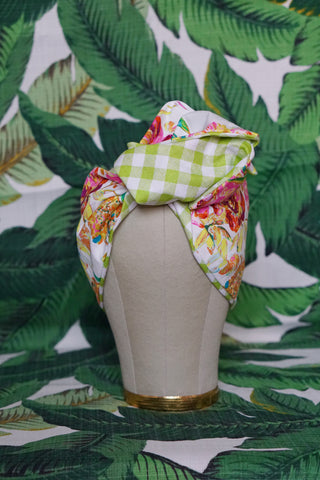 Garden Floral & Green Gingham- Wired Turban Headband