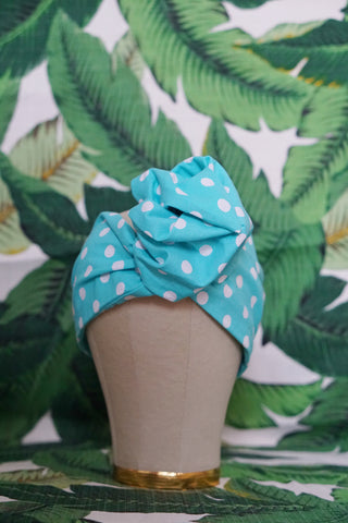 Aqua Polka Dot- Wired Turban Headband