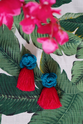 AYANNA CROCHET FRINGE EARRINGS - DARK TEAL & FUCHSIA