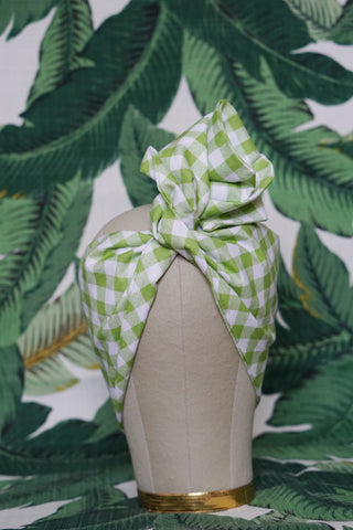 Green Gingham - Wired Turban Headband