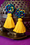 LISA BRAIDED TASSEL EARRINGS - MULTI & YELLOW