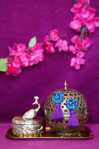 LISA BRAIDED TASSEL EARRINGS - BLUE & PURPLE