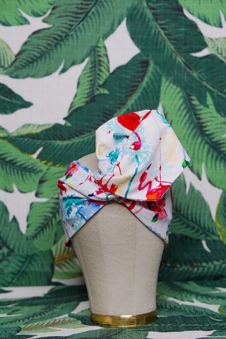 Tropical Flamingo - Wired Turban Headband