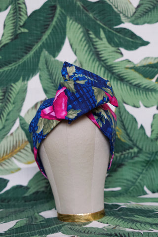 Navy & Fuchsia Poppy  - Wired Turban Headband