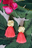 AYANNA CROCHET FRINGE EARRINGS - SOFT YELLOW & CORAL