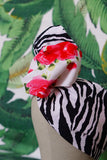 Red/Pink Rose & Zebra - Wired Turban Headband