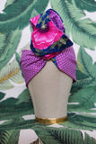 Purple dots & Poppies  - Wired Turban Headband