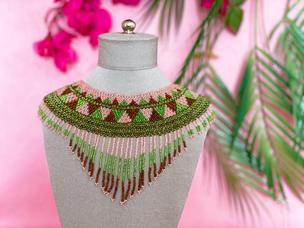 Handmade beads necklace Mexican necklace Boho beaded long necklace Statement seed beads necklace Mexican Multi beaded Rani Necklace