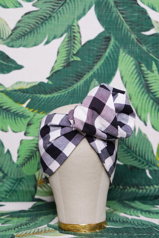 Black & White Buffalo Check - Wired Turban Headband