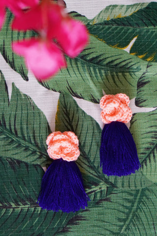 AYANNA CROCHET FRINGE EARRINGS - PEACH & VIOLET