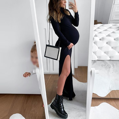 Maternity Pure Color High Slit Long Sleeve Hip Dress