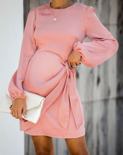 Maternity Solid Color Crew Neck Dress