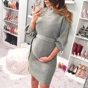 Maternity Casual Round Neck Knit Dress