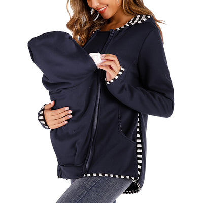 Maternity Pure Color Zipper Long Sleeve Top
