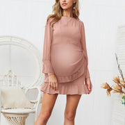 Maternity Sweet Round Neck Solid Color Slim Strap Dress