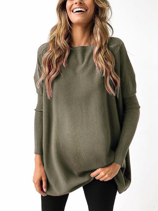 Maternity Casual Pure Color Long Sleeve Sweater