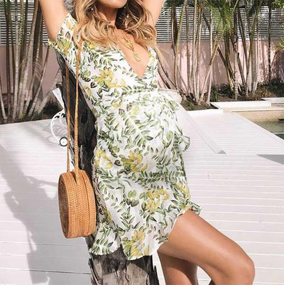 Maternity Floral Short-Sleeved Ruffled Dress