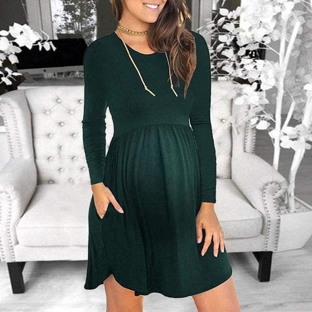 Maternity Pure Color Patchwork Round Neck  Dress