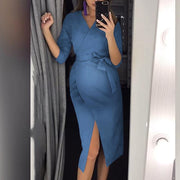 Maternity Sexy V Neck Pure Colour Belted Dress