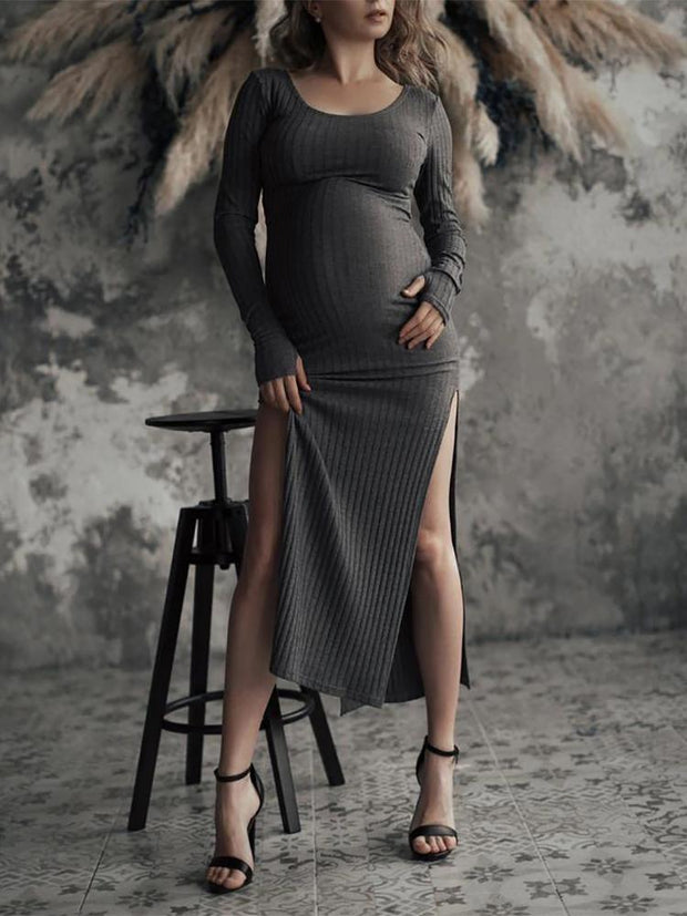 Slim-Fit Casual Knit Maternity Dress