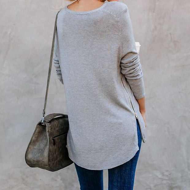 Maternity Slit Pure Color Sweater
