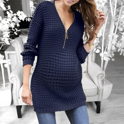 Maternity Fashion Solid Color Zipper Long Sleeve Mid-Length Dress