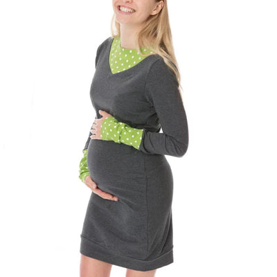 Maternity Dots Pure Color Long Sleeve Dress