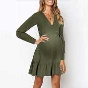 Maternity Sexy Tie-Tie Lace Waist V-Neck Dress
