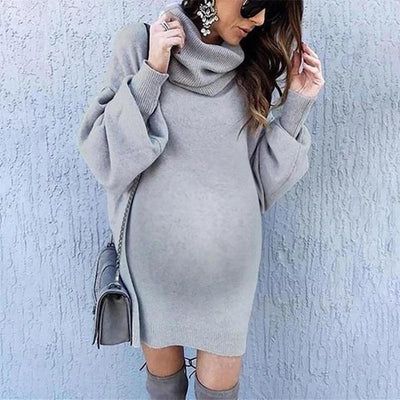 Maternity Fashion Solid Color Short High Collar Lantern Sleeve Sweater Dress