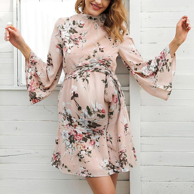 Maternity Sweet Trumpet Sleeve Printed Chiffon Halter A-Line Dress