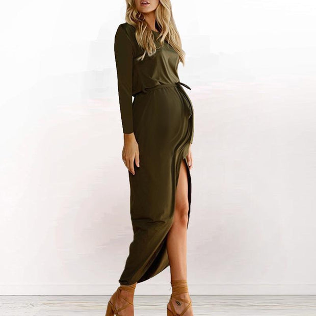 Maternity Casual Solid Color Round Neck Long Sleeve Dress