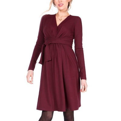 Maternity V Neck Pure Color Long Sleeve Dress