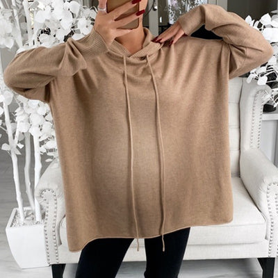 Maternity Pure Color Long Sleeve Slit Hoodie