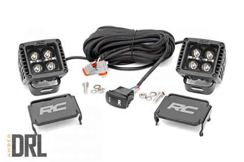 2-INCH SQUARE CREE LED LIGHTS - (PAIR | BLACK SERIES W/ AMBER DRL)
