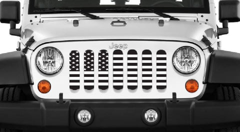Black and White American Flag Grille Insert