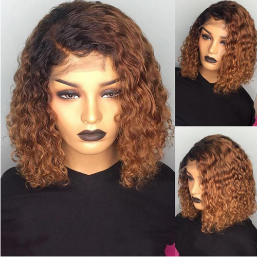 Ombre #1B/30 Pre-plucked Water Wavy Bob Lace Front Wig