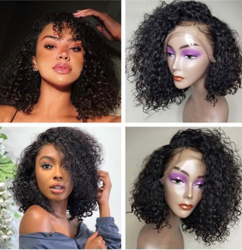 Curly Brazilian Frontal Lace Bob Wig