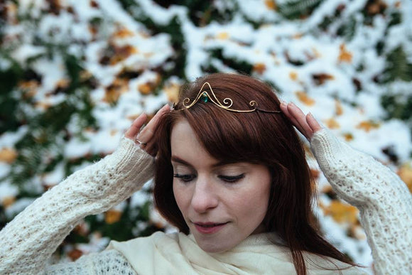 Reversible Elven Tiara ~ Apatite Gemstone ~ Whimsical Bride