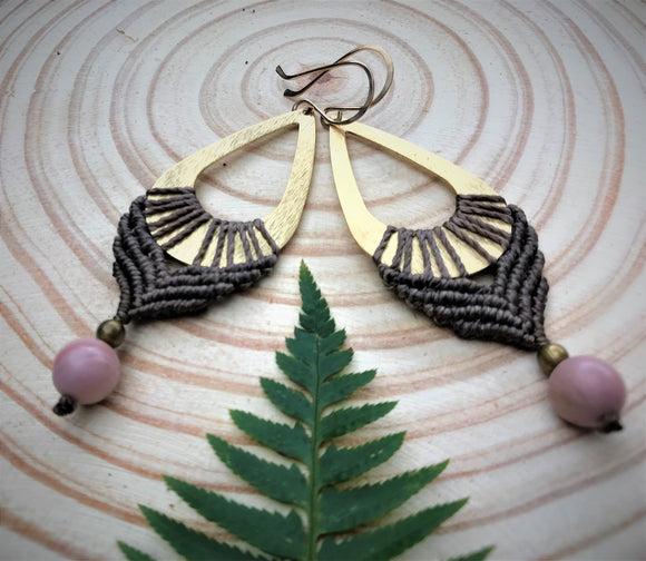 Q'ocha Macrame Droplet Earrings with Rhodonite