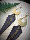 Moonlight Earrings with Recycled Leather