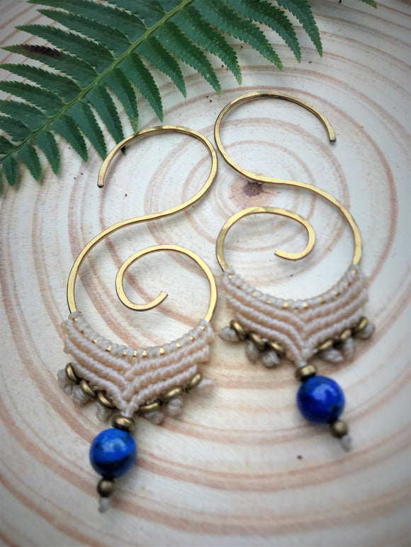 Lapis Lazuli Spiral Threader Earrings