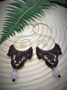 Koru Threader Earrings with Rose Quartz