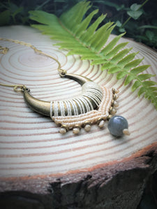 Moonlight Macrame Necklace with Labradorite Gemstone